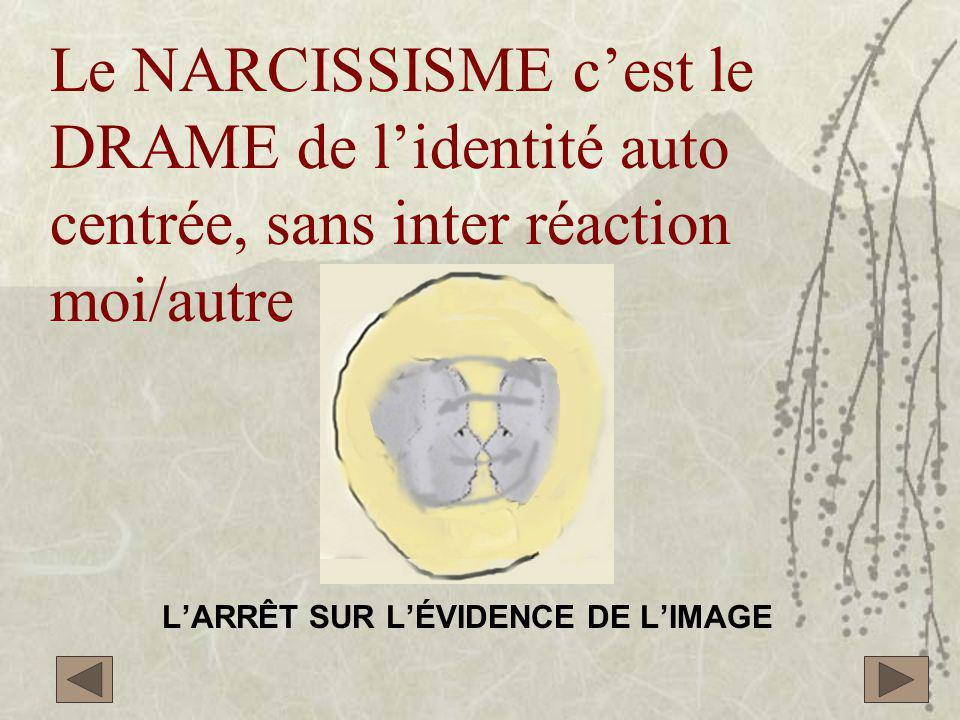 Le NARCISSISME c'est le DRAME de l'identité auto centrée, sans inter réaction moi/autre L'ARRÊT SUR L'ÉVIDENCE DE L'IMAGE