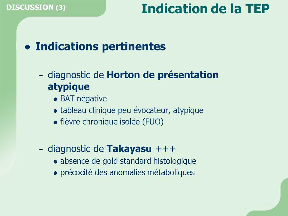 Indication de la TEP  Indications pertinentes – diagnostic de Horton de présentation atypique  BAT négative  tableau clinique peu évocateur, atypiq