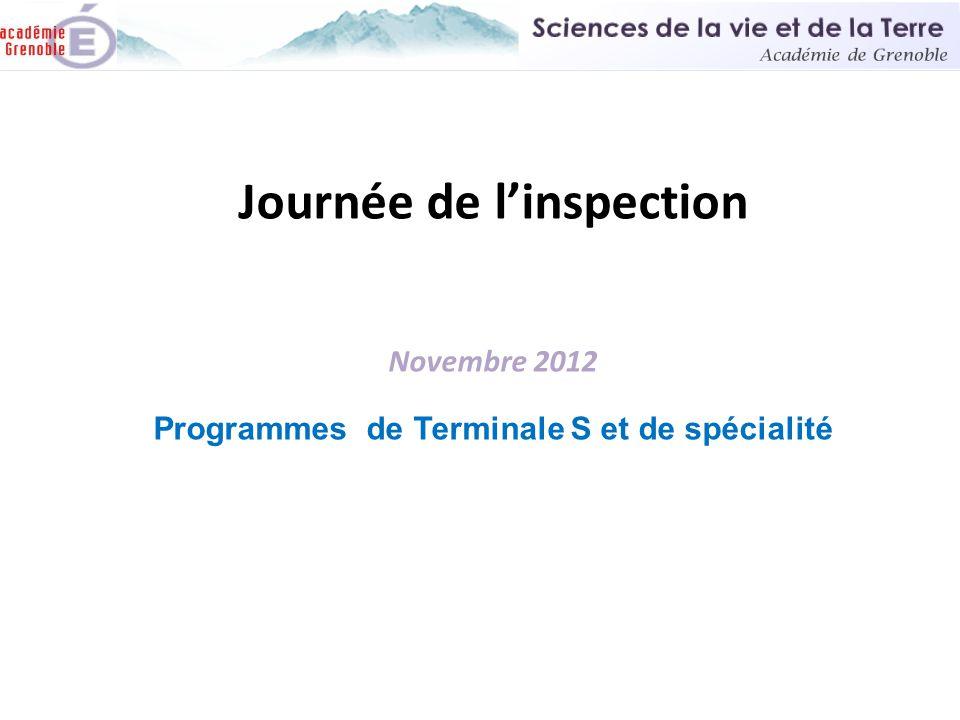 Journée de l'inspection Novembre 2012 Programmes de Terminale S et de spécialité
