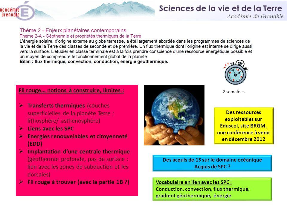 Fil rouge… notions à construire, limites :  Transferts thermiques (couches superficielles de la planète Terre : lithosphère/ asthénosphère)  Liens a