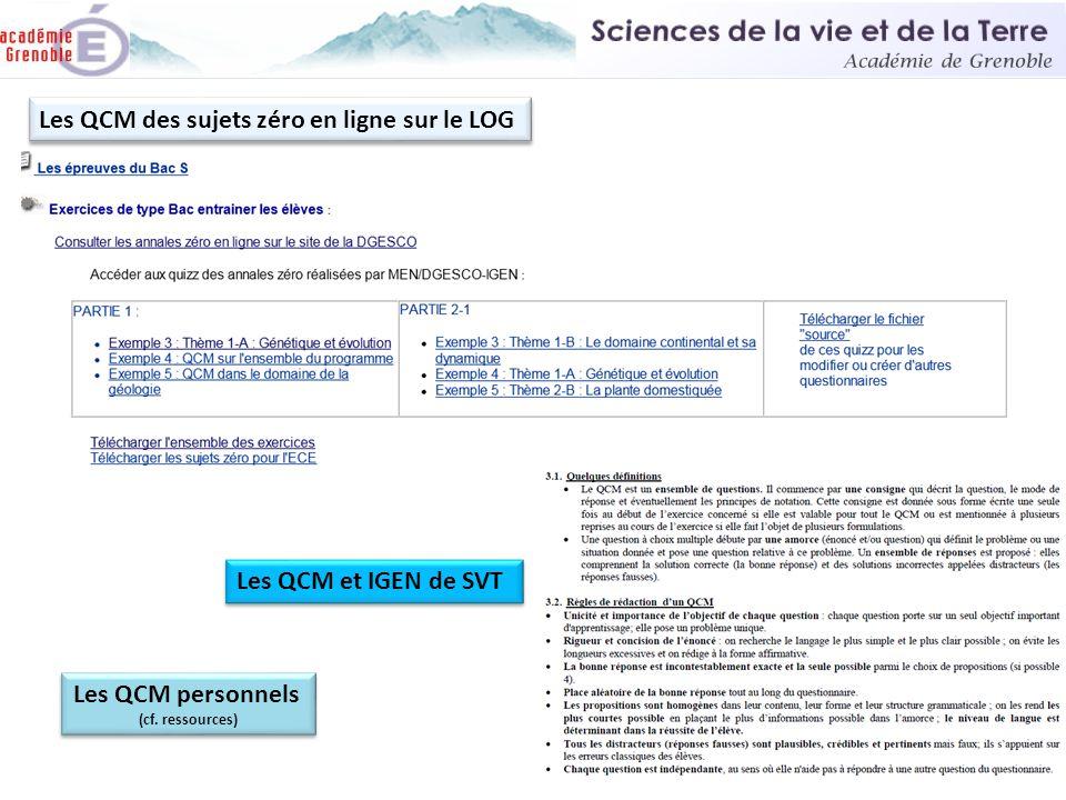 Les QCM des sujets zéro en ligne sur le LOG Les QCM personnels (cf. ressources) Les QCM personnels (cf. ressources) Les QCM et IGEN de SVT