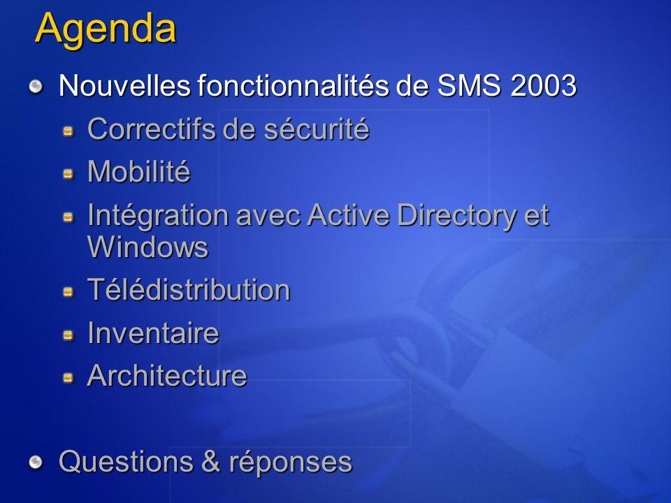 SMS 2003 peut afficher les annonces dans ajout/suppression de programmes Les annonces SMS et des Group Policy apparaissent dans le même emplacement Simplification pour les utilisateurs SMS 2003 remonte au sein de l'inventaire le contenu de Ajout/Suppression de programmes Supporté par les client Windows 2000 et XP Intégration avec Windows Installer Publication et inventaire de Ajout/Suppression de programmes