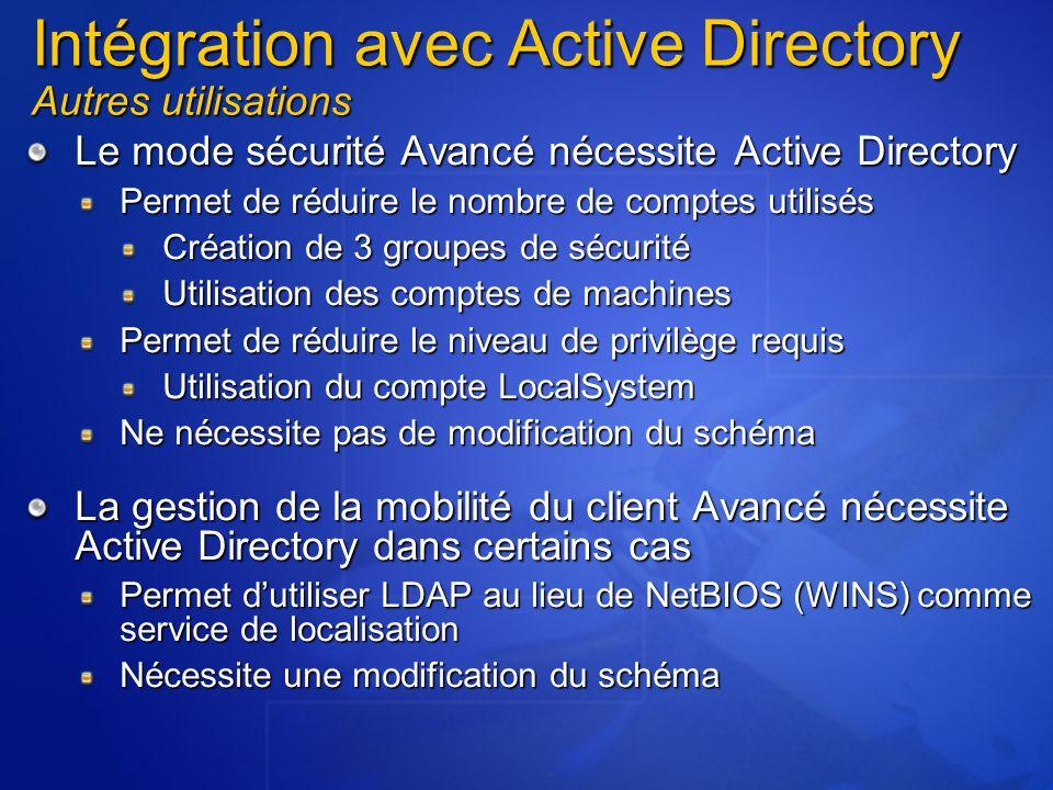 Le mode sécurité Avancé nécessite Active Directory Permet de réduire le nombre de comptes utilisés Création de 3 groupes de sécurité Utilisation des comptes de machines Permet de réduire le niveau de privilège requis Utilisation du compte LocalSystem Ne nécessite pas de modification du schéma La gestion de la mobilité du client Avancé nécessite Active Directory dans certains cas Permet d'utiliser LDAP au lieu de NetBIOS (WINS) comme service de localisation Nécessite une modification du schéma Intégration avec Active Directory Autres utilisations