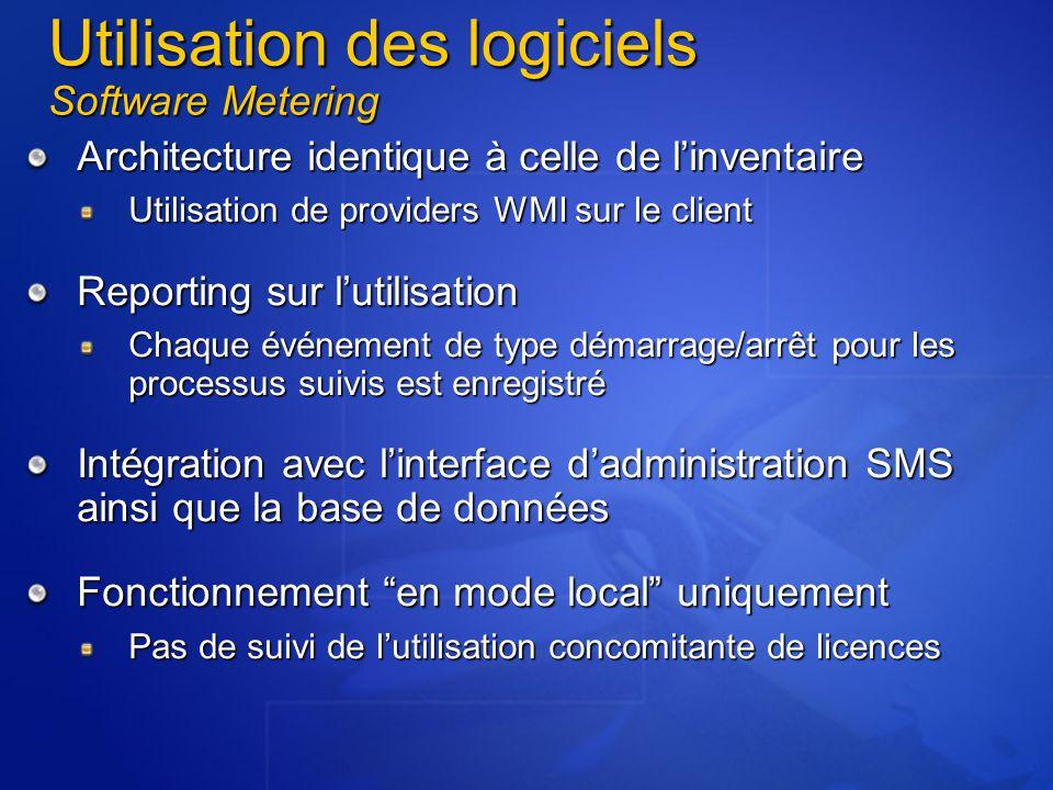 Utilisation des logiciels Software Metering Architecture identique à celle de l'inventaire Utilisation de providers WMI sur le client Reporting sur l'utilisation Chaque événement de type démarrage/arrêt pour les processus suivis est enregistré Intégration avec l'interface d'administration SMS ainsi que la base de données Fonctionnement en mode local uniquement Pas de suivi de l'utilisation concomitante de licences