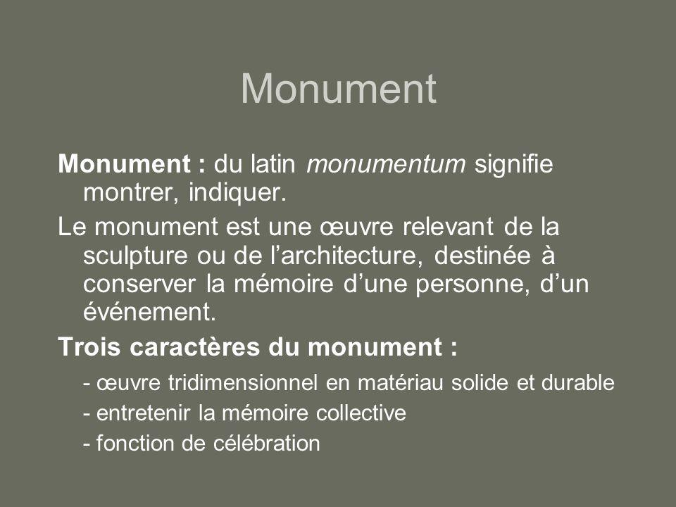 Monument Monument : du latin monumentum signifie montrer, indiquer.