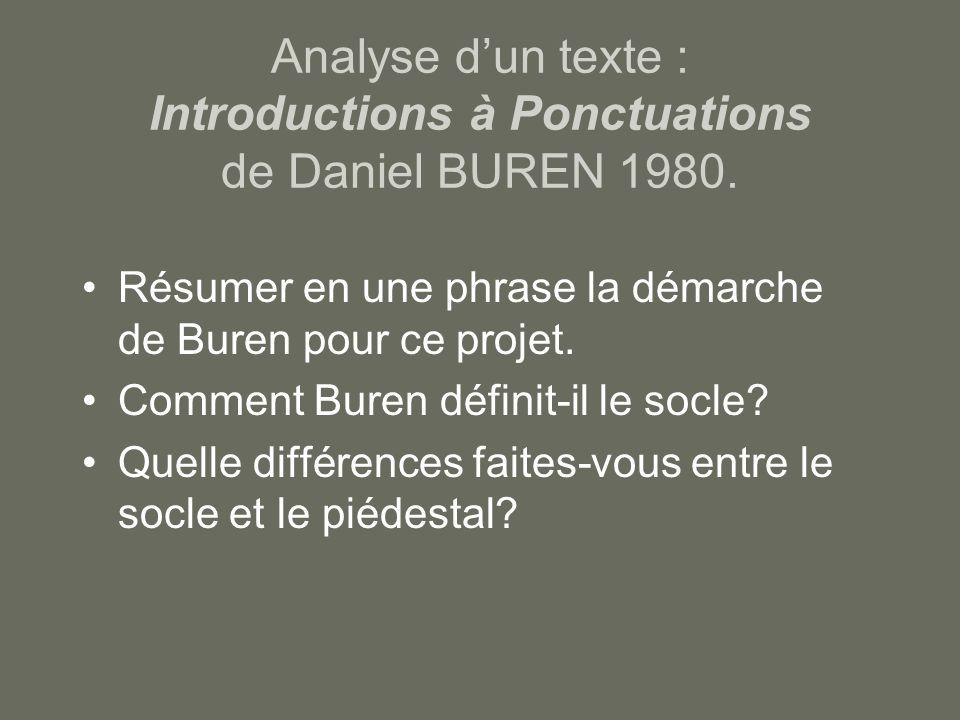 Analyse d'un texte : Introductions à Ponctuations de Daniel BUREN 1980.