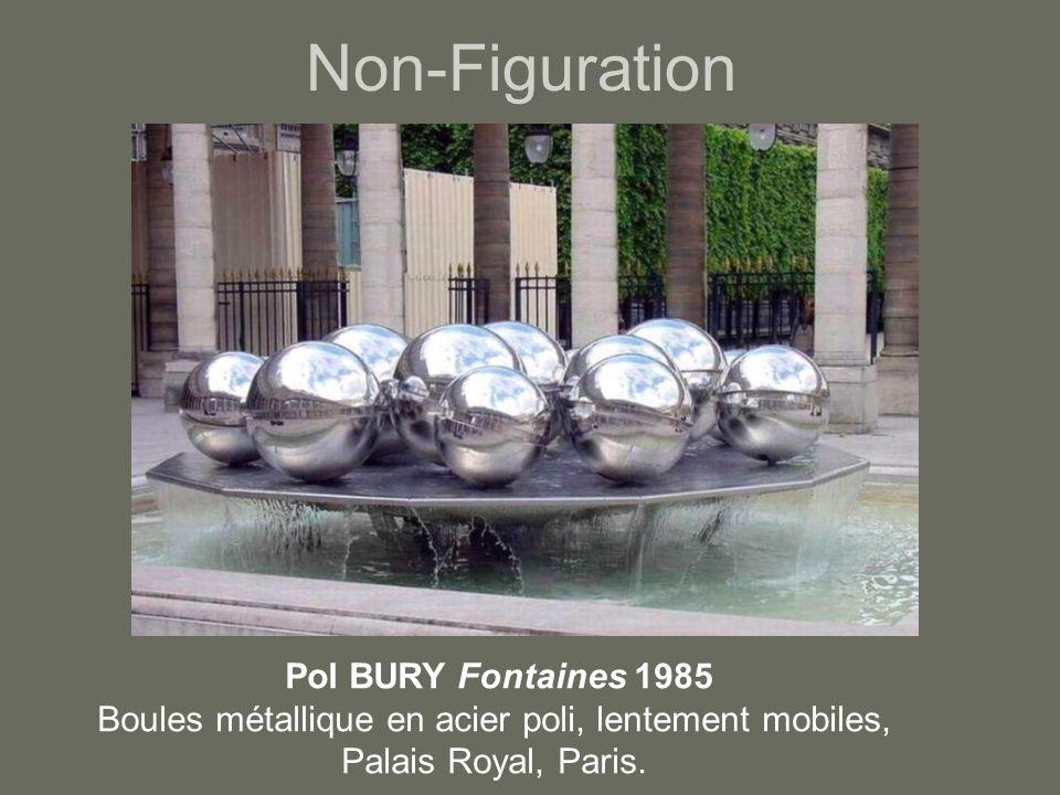 Non-Figuration Pol BURY Fontaines 1985 Boules métallique en acier poli, lentement mobiles, Palais Royal, Paris.