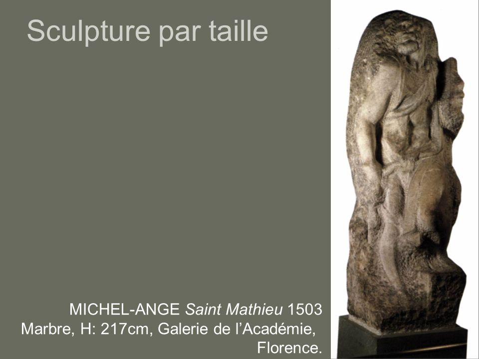 Sculpture par taille MICHEL-ANGE Saint Mathieu 1503 Marbre, H: 217cm, Galerie de l'Académie, Florence.