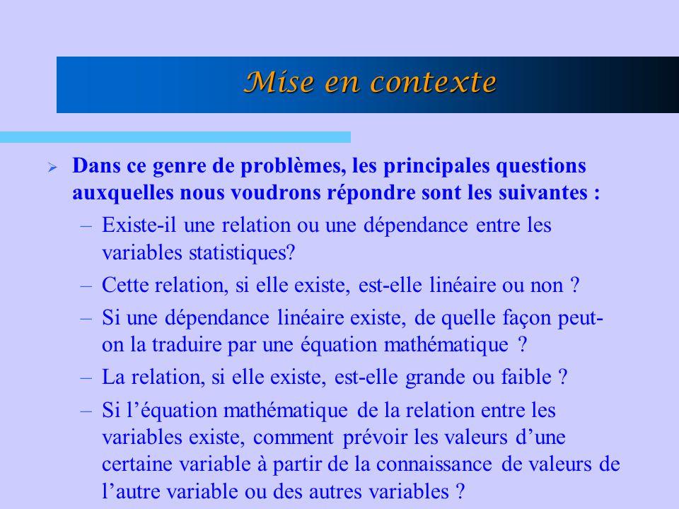 Mise en contexte  Pour répondre à toutes ces questions, nous ferons appel à une théorie statistique que nous appelons : L'analyse de la régression