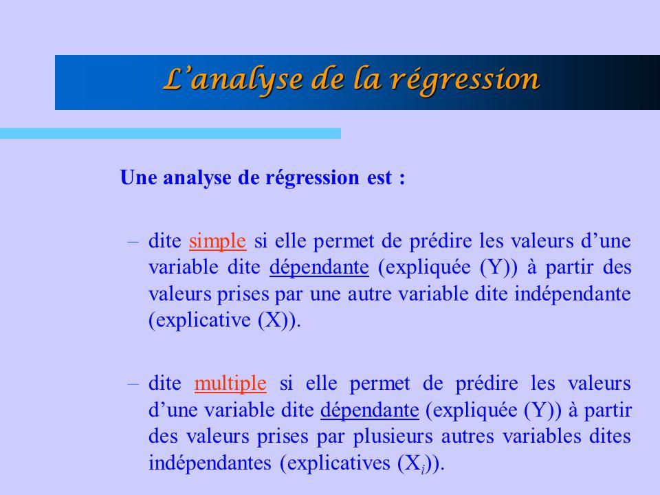 L'analyse de la régression Une analyse de régression est : –dite simple si elle permet de prédire les valeurs d'une variable dite dépendante (expliqué