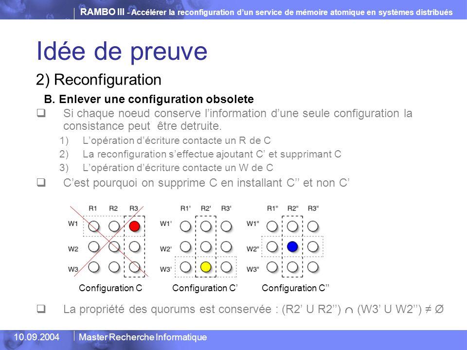 RAMBO III - Accélérer la reconfiguration d'un service de mémoire atomique en systèmes distribués 10.09.2004Master Recherche Informatique Idée de preuv