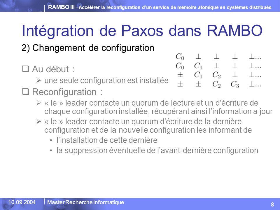 RAMBO III - Accélérer la reconfiguration d'un service de mémoire atomique en systèmes distribués 10.09.2004Master Recherche Informatique Intégration d