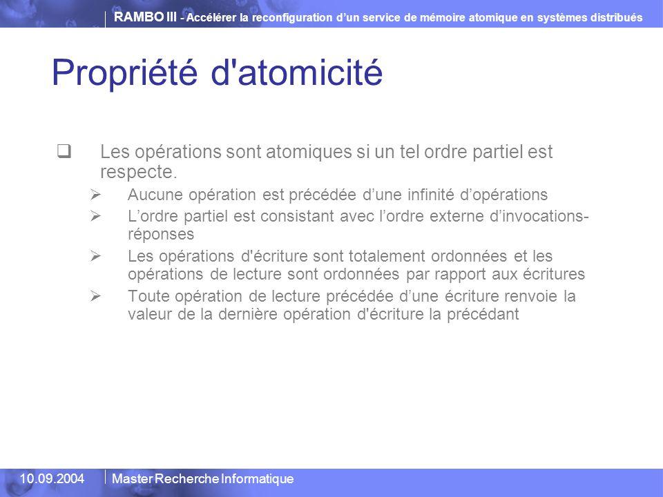 RAMBO III - Accélérer la reconfiguration d'un service de mémoire atomique en systèmes distribués 10.09.2004Master Recherche Informatique Propriété d'a