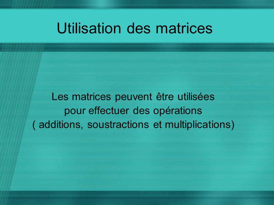Utilisation des matrices Les matrices peuvent être utilisées pour effectuer des opérations ( additions, soustractions et multiplications)