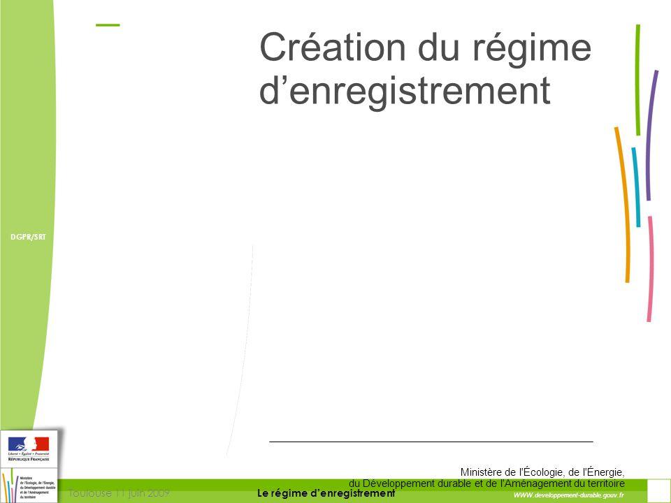 Toulouse 11 juin 2009 DIRECTION DE LA PREVENTION DES RISQUES ET LUTTE CONTRE LES POLLUTIONS Le régime d'enregistrement DIRECTION DE LA PREVENTION DES POLLUTIONS ET DES RISQUES DGPR/SRT L'enregistrement une réponse : Consultation et information des acteurs locaux  Information des membres du Coderst ( décret)  Avis des conseils municipaux (L 512-7-3)  Consultation du public sur le projet (L 512-7-1)  Information du public sur la mise en service (décret)