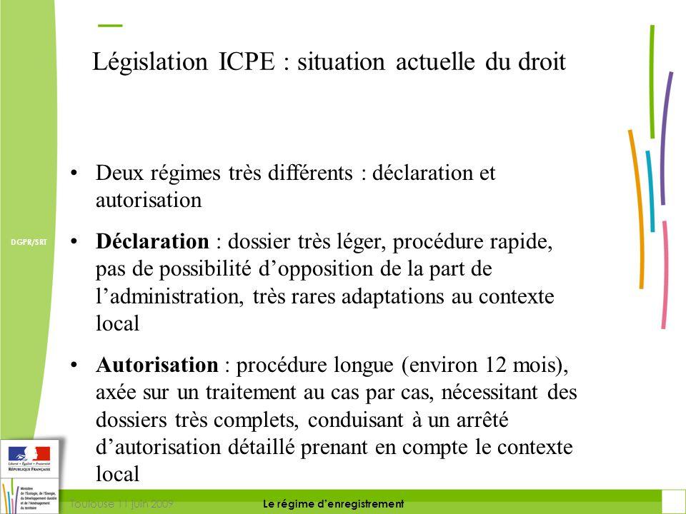 Toulouse 11 juin 2009 DIRECTION DE LA PREVENTION DES RISQUES ET LUTTE CONTRE LES POLLUTIONS Le régime d'enregistrement DIRECTION DE LA PREVENTION DES POLLUTIONS ET DES RISQUES DGPR/SRT L'enregistrement une réponse : Maintien dans le temps du respect des prescriptions  Inspection confiée à l'inspection des installations classées  Contrôle spécifique par des organismes tiers possible via les arrêtés-types.