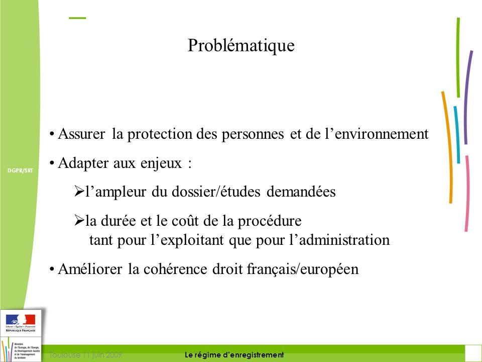 Toulouse 11 juin 2009 DIRECTION DE LA PREVENTION DES RISQUES ET LUTTE CONTRE LES POLLUTIONS Le régime d'enregistrement DIRECTION DE LA PREVENTION DES POLLUTIONS ET DES RISQUES DGPR/SRT Régime d'enregistrement : principes  Prescriptions-type nationales connues a priori pour une activité  Procédure courte tournée vers la garantie du respect des prescriptions-type par l'exploitant (Justification de la conformité à la réglementation )  Consultation des acteurs locaux maintenue mais simplifiée  Maintien dans le temps du respect des prescriptions
