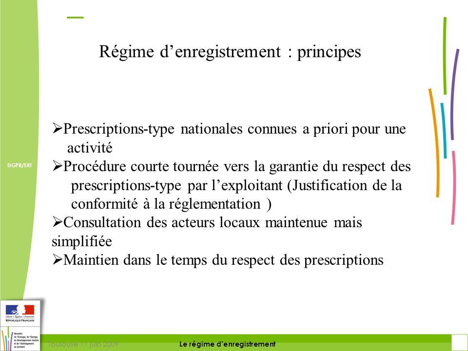 Toulouse 11 juin 2009 DIRECTION DE LA PREVENTION DES RISQUES ET LUTTE CONTRE LES POLLUTIONS Le régime d'enregistrement DIRECTION DE LA PREVENTION DES POLLUTIONS ET DES RISQUES DGPR/SRT Prescriptions-type nationales  Un article définit les règles applicables L.512-7-1  Possibilité de déroger à ces règles encadrées (Préfet ou exploitant) L.512-7-3  Pour chacun de ces cas, il y a passage au Coderst  Possibilité d'arrêtés complémentaires (L.512-7-5) L'enregistrement une réponse :
