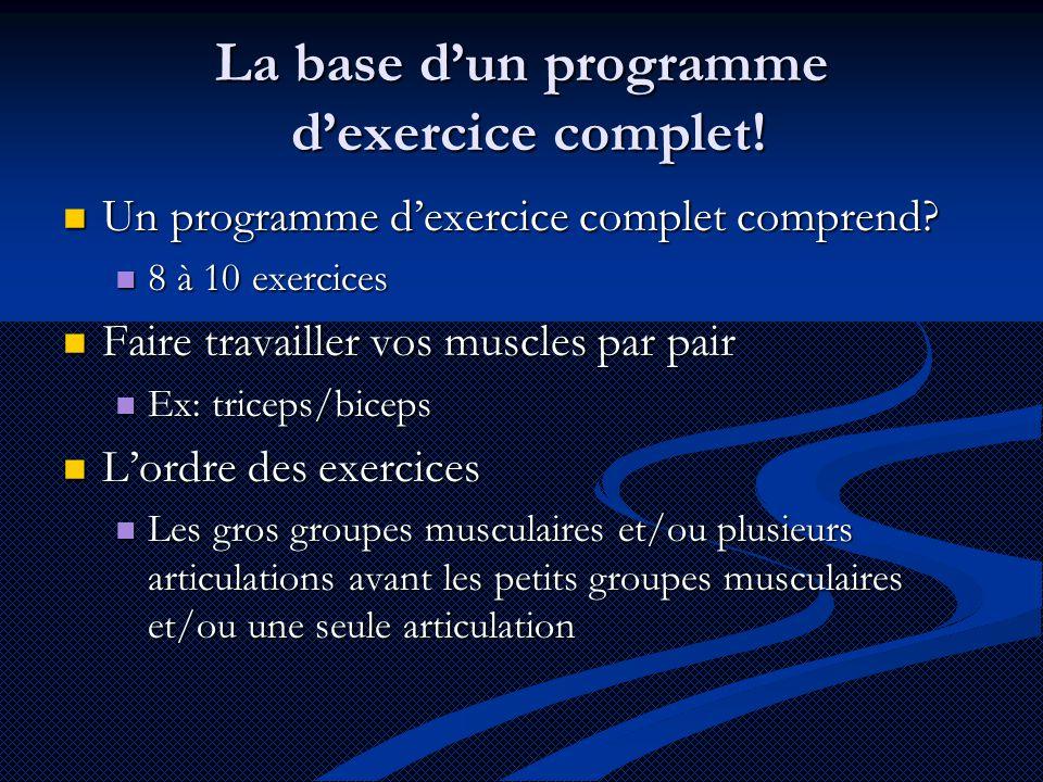 La base d'un programme d'exercice complet!  Un programme d'exercice complet comprend?  8 à 10 exercices  Faire travailler vos muscles par pair  Ex