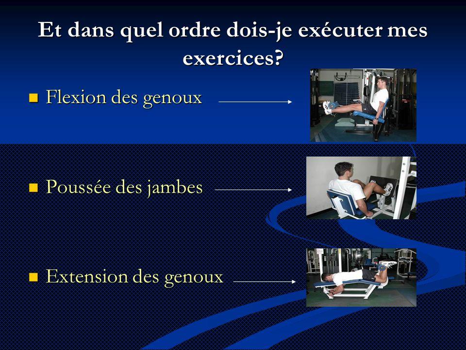 Et dans quel ordre dois-je exécuter mes exercices?  Flexion des genoux  Poussée des jambes  Extension des genoux