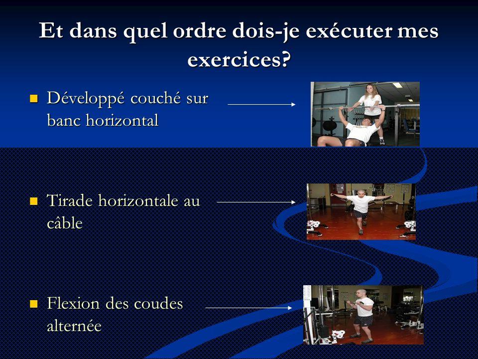 Et dans quel ordre dois-je exécuter mes exercices?  Développé couché sur banc horizontal  Tirade horizontale au câble  Flexion des coudes alternée