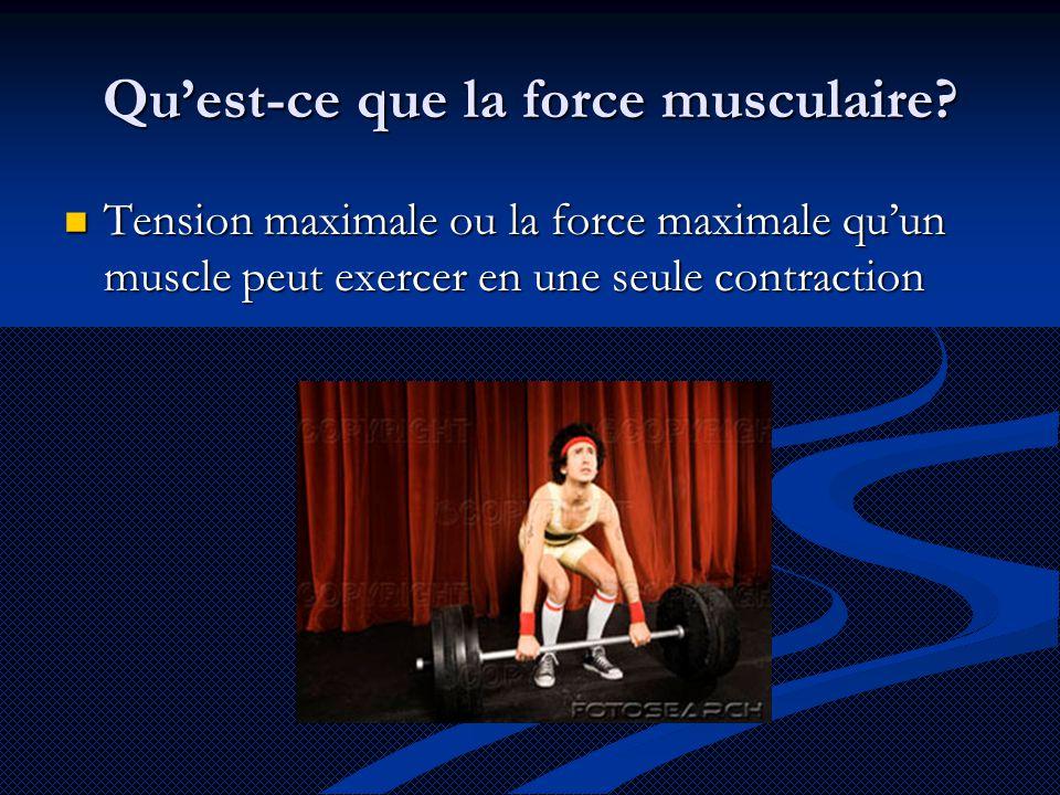 Qu'est-ce que la force musculaire?  Tension maximale ou la force maximale qu'un muscle peut exercer en une seule contraction