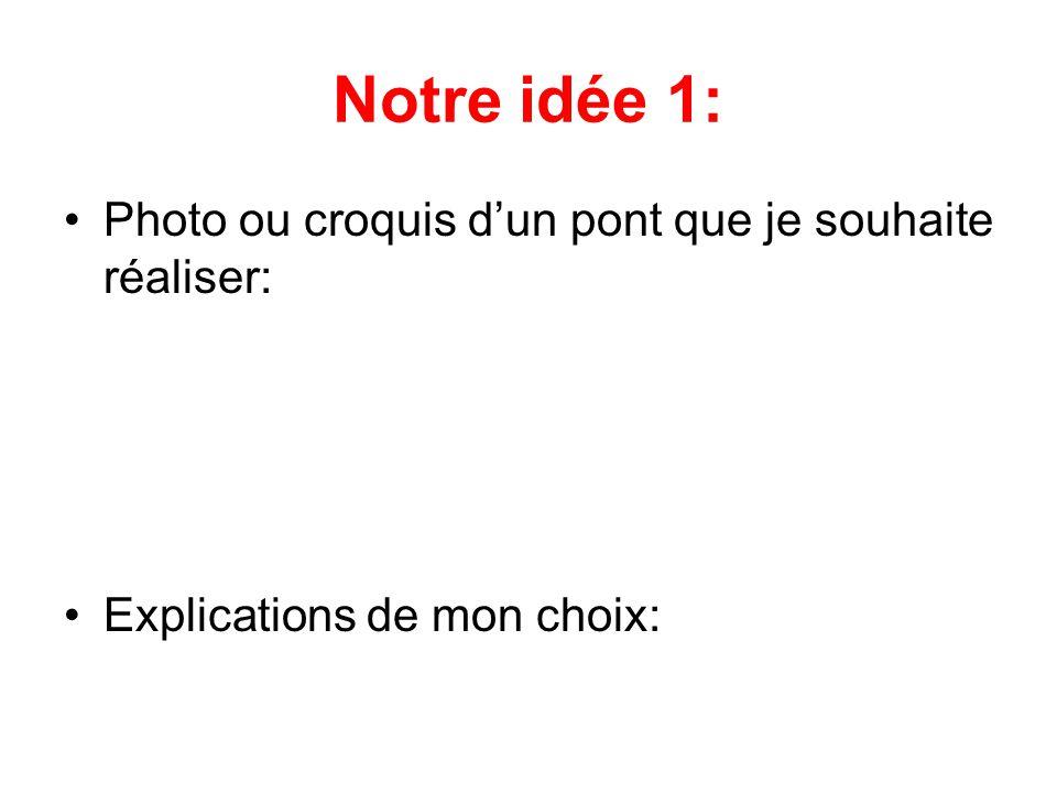 Notre idée 1: •Photo ou croquis d'un pont que je souhaite réaliser: •Explications de mon choix: