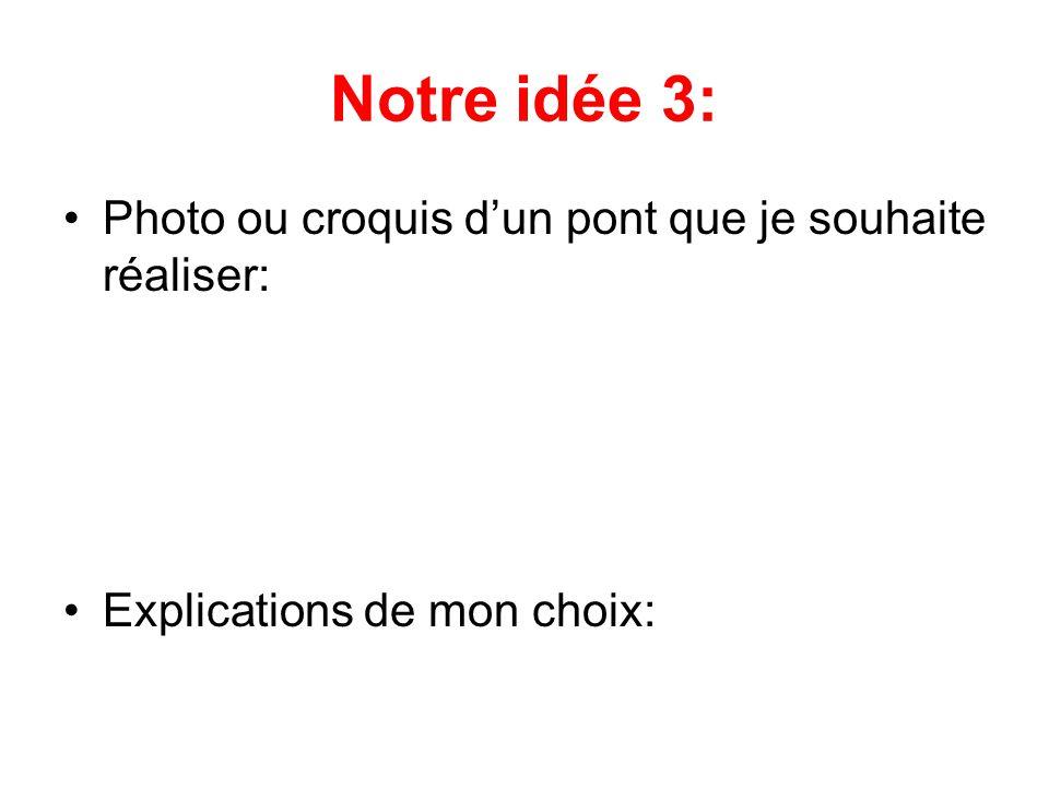 Notre idée 3: •Photo ou croquis d'un pont que je souhaite réaliser: •Explications de mon choix: