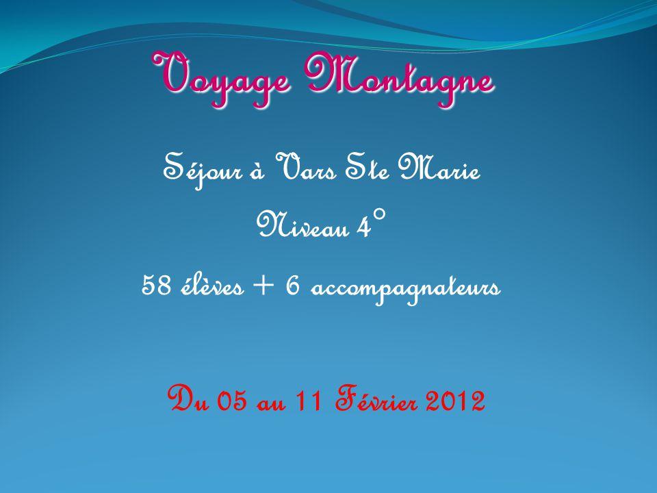 Voyage Montagne Séjour à Vars Ste Marie Niveau 4° 58 élèves + 6 accompagnateurs Du 05 au 11 Février 2012