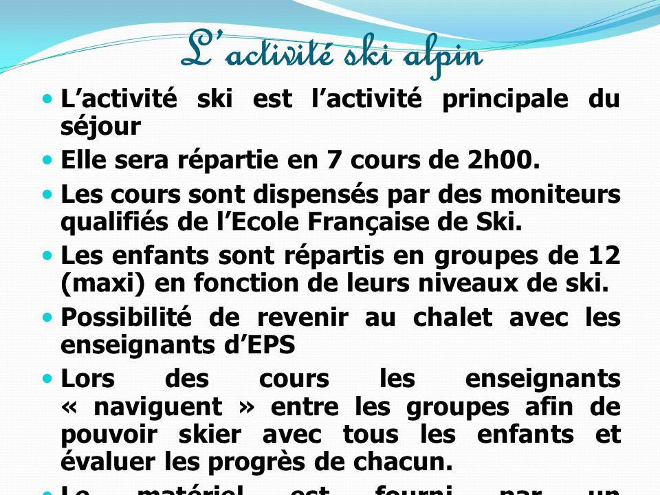 Les activités  Activités sportives :  ski alpin dispensé par des moniteurs de l'Ecole de Ski Français « ESF » (1 moniteur pour 12 élèves )  séances