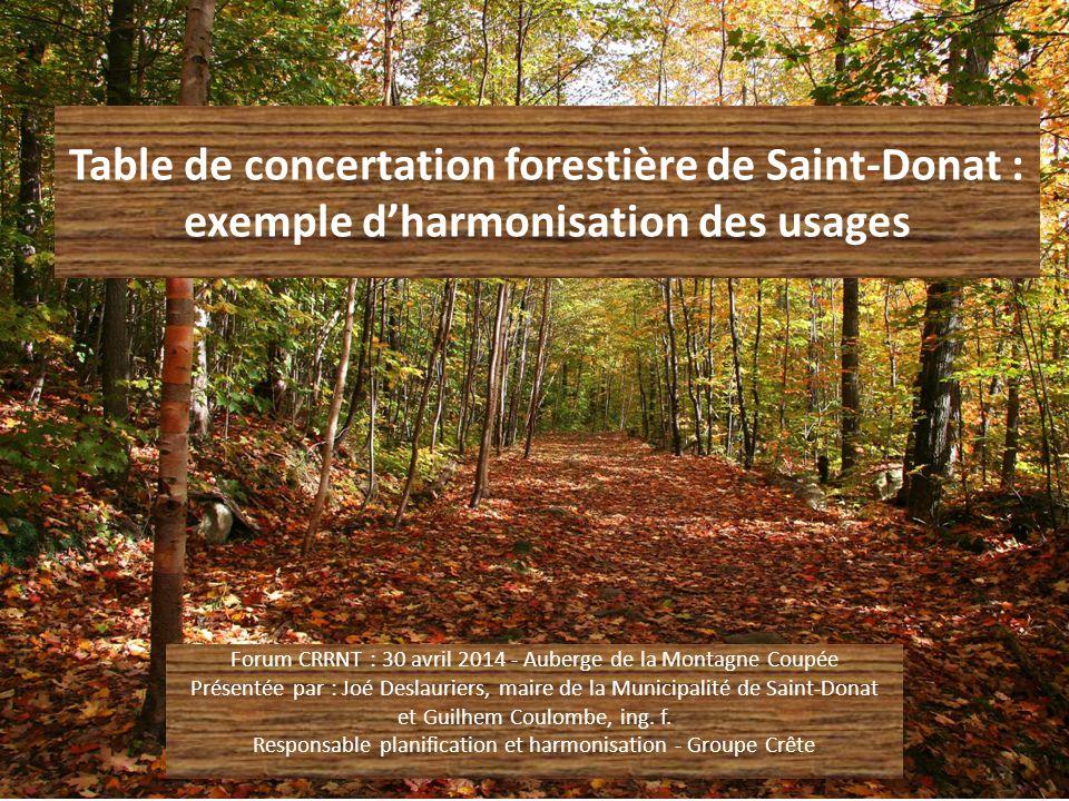 Fonctionnement de la TCF LA PRISE DE DÉCISION RELATIVEMENT À l'ACCEPTABILITÉ D'UNE COUPE : Avant le nouveau régime forestier : -Les orientations sont prises par consensus directement entre tous les intervenants à la TCF Depuis le nouveau régime forestier (1 er avril 2013) : -Les « mesures d'harmonisation » convenues à la TCF sont adoptées par résolution au conseil municipal de la Municipalité et transmises à la MRC (représentant de la Municipalité à la table GIRT Lanaudière)
