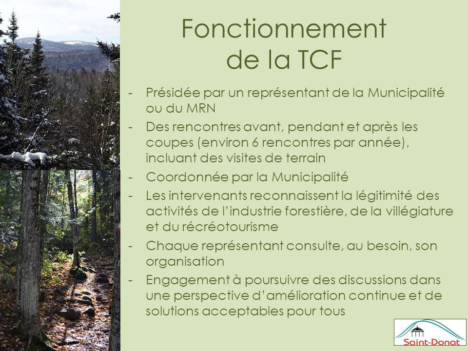 Fonctionnement de la TCF -Présidée par un représentant de la Municipalité ou du MRN -Des rencontres avant, pendant et après les coupes (environ 6 rencontres par année), incluant des visites de terrain -Coordonnée par la Municipalité -Les intervenants reconnaissent la légitimité des activités de l'industrie forestière, de la villégiature et du récréotourisme -Chaque représentant consulte, au besoin, son organisation -Engagement à poursuivre des discussions dans une perspective d'amélioration continue et de solutions acceptables pour tous