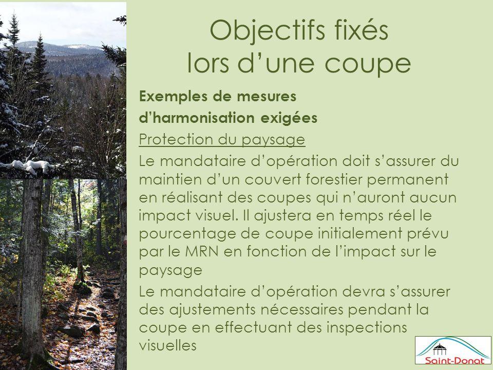 Objectifs fixés lors d'une coupe Exemples de mesures d'harmonisation exigées Protection du paysage Le mandataire d'opération doit s'assurer du maintien d'un couvert forestier permanent en réalisant des coupes qui n'auront aucun impact visuel.