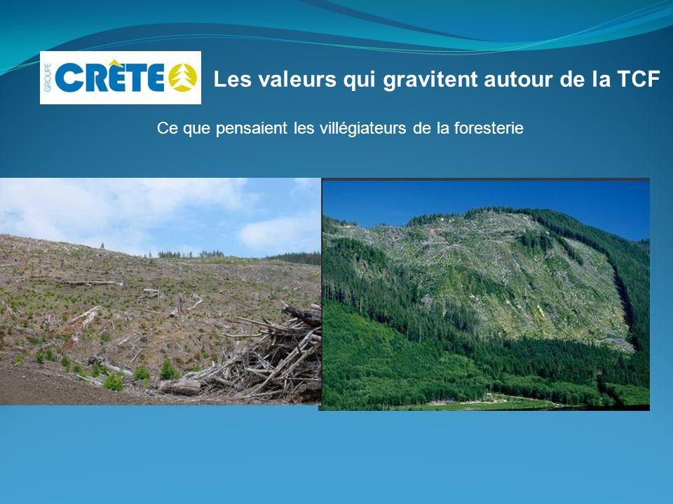 Les valeurs qui gravitent autour de la TCF Ce que pensaient les villégiateurs de la foresterie