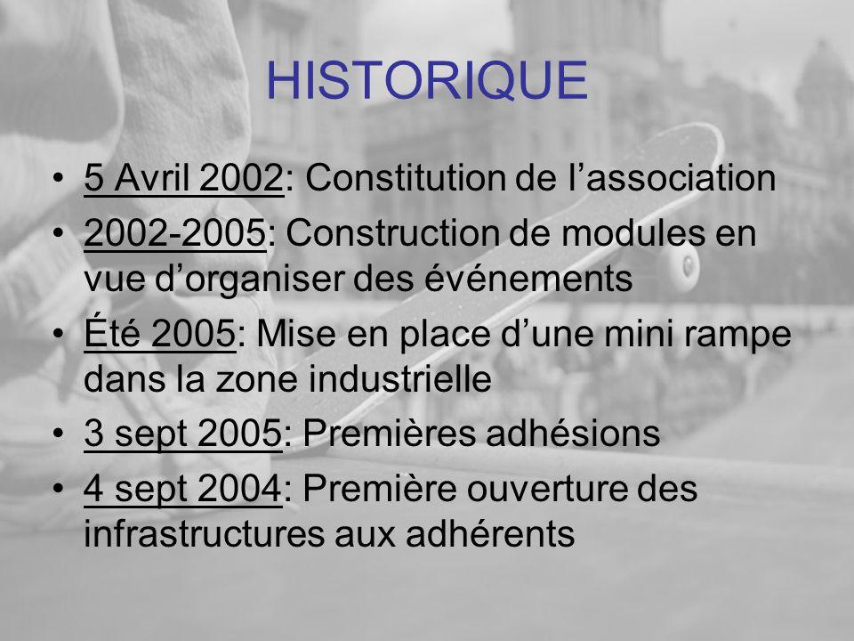 HISTORIQUE •5 Avril 2002: Constitution de l'association •2002-2005: Construction de modules en vue d'organiser des événements •Été 2005: Mise en place d'une mini rampe dans la zone industrielle •3 sept 2005: Premières adhésions •4 sept 2004: Première ouverture des infrastructures aux adhérents