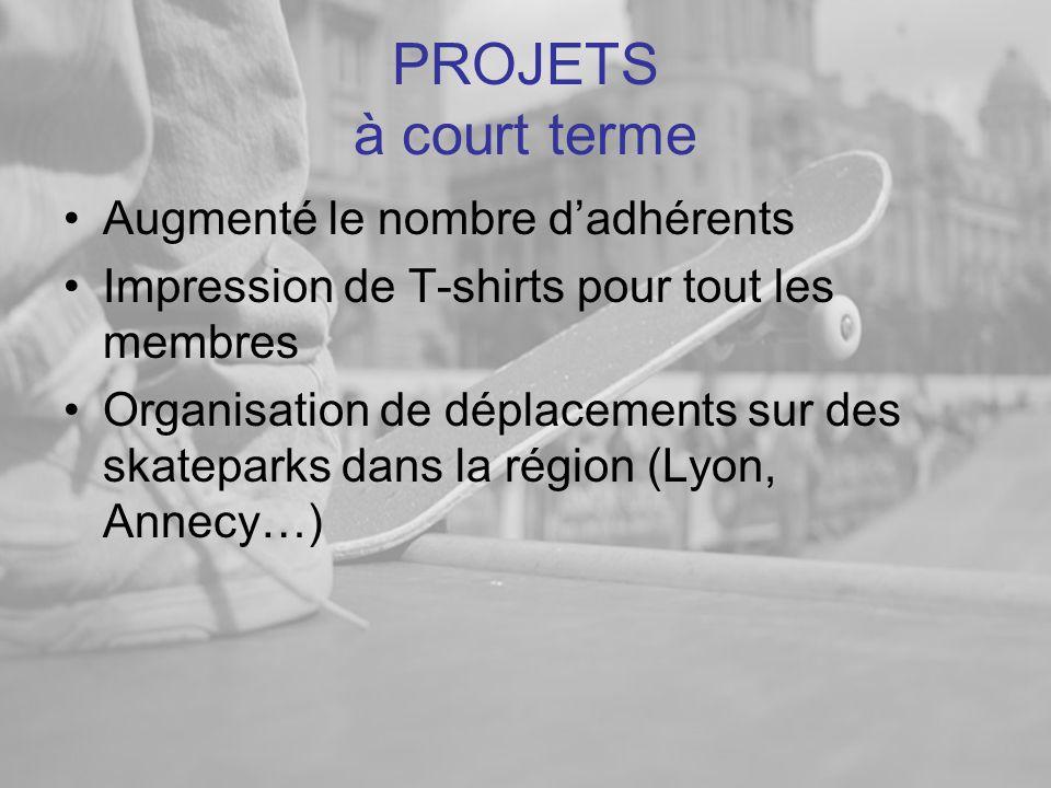 PROJETS à court terme •Augmenté le nombre d'adhérents •Impression de T-shirts pour tout les membres •Organisation de déplacements sur des skateparks dans la région (Lyon, Annecy…)