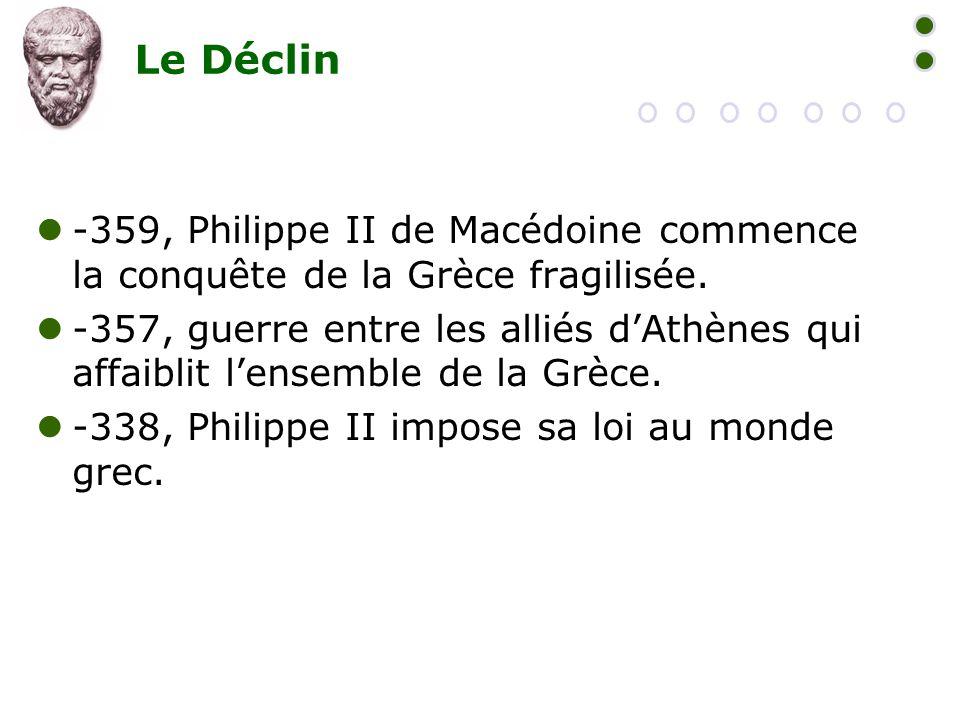 Le Déclin  -359, Philippe II de Macédoine commence la conquête de la Grèce fragilisée.  -357, guerre entre les alliés d'Athènes qui affaiblit l'ense