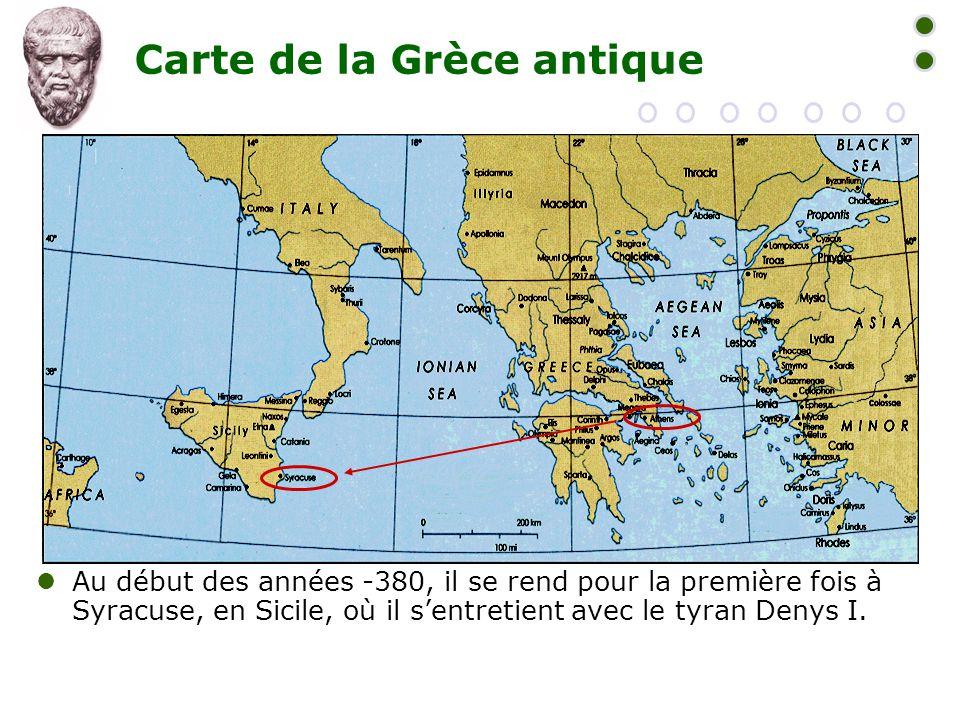 Carte de la Grèce antique  Au début des années -380, il se rend pour la première fois à Syracuse, en Sicile, où il s'entretient avec le tyran Denys I