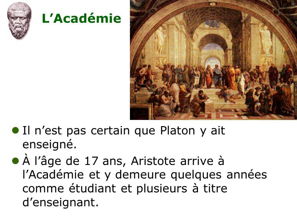 L'Académie  Il n'est pas certain que Platon y ait enseigné.  À l'âge de 17 ans, Aristote arrive à l'Académie et y demeure quelques années comme étud