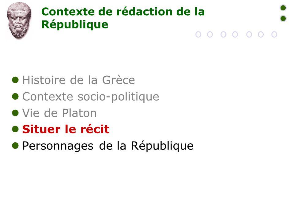 Contexte de rédaction de la République  Histoire de la Grèce  Contexte socio-politique  Vie de Platon  Situer le récit  Personnages de la Républi