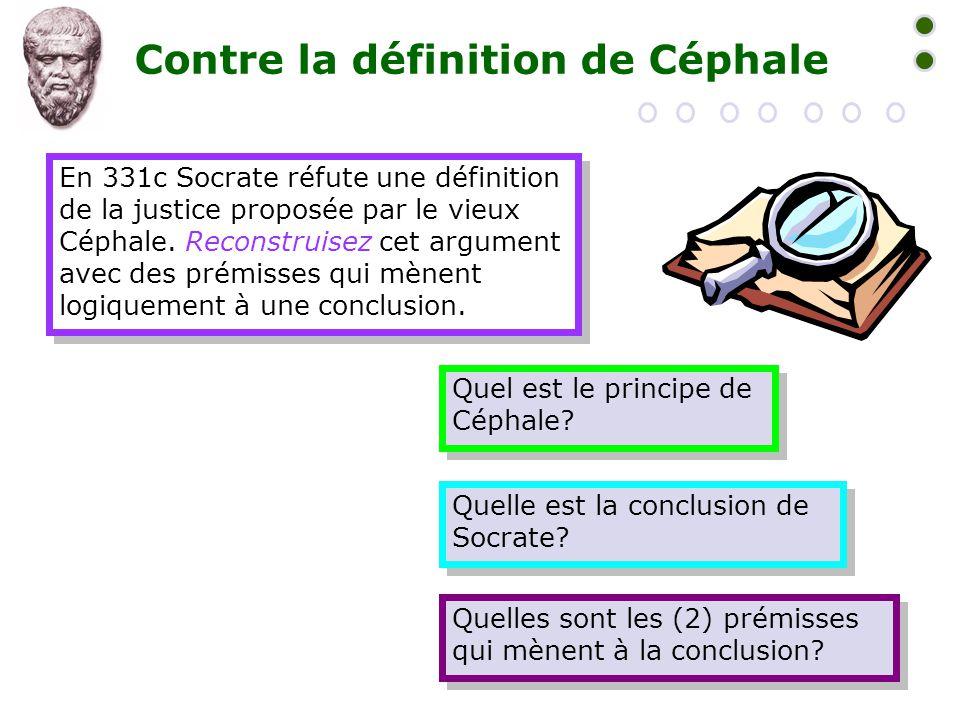 Contre la définition de Céphale En 331c Socrate réfute une définition de la justice proposée par le vieux Céphale. Reconstruisez cet argument avec des