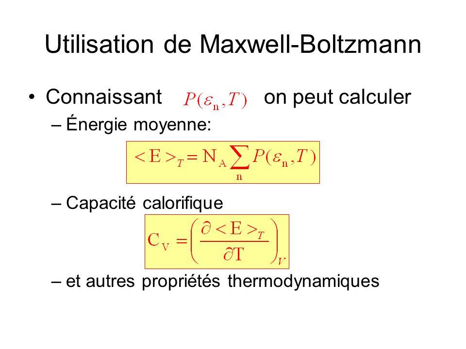 Utilisation de Maxwell-Boltzmann •Connaissant on peut calculer –Énergie moyenne: –Capacité calorifique –et autres propriétés thermodynamiques