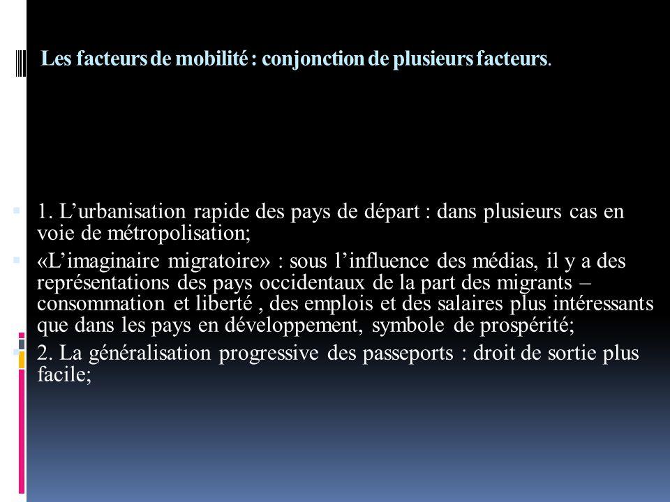 Les facteurs de mobilité : conjonction de plusieurs facteurs.  1. L'urbanisation rapide des pays de départ : dans plusieurs cas en voie de métropolis