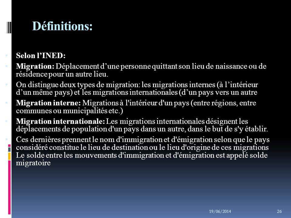 Statistique Canada  Migration: Déplacement entre deux régions au cours de la période couverte par les estimations.