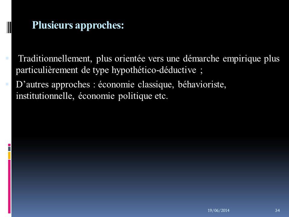 Axiomes de l'économie classique :  Les préférences à l'échelle de l'individu façonnent la nature de l'économie et les caractéristiques de la société;  La liberté individuelle, la préséance du consommateur et l'omniprésence des mécanismes du marché constituent les concepts de base de cette approche ;  L'économie du marché est considérée comme harmonieuse et s'autorégulant ; 19/06/2014 35