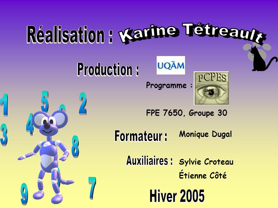 Programme : FPE 7650, Groupe 30 Monique Dugal Sylvie Croteau Étienne Côté
