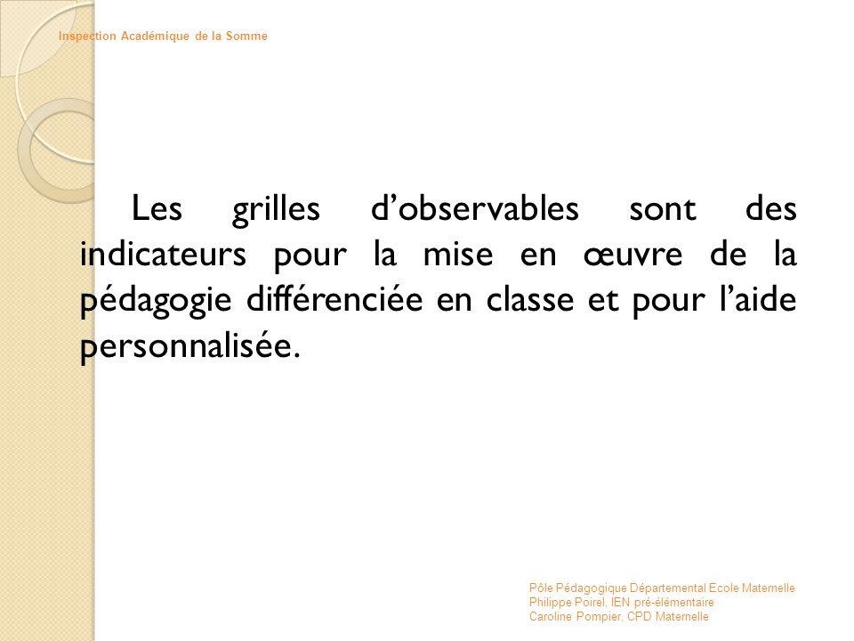 Les grilles d'observables sont des indicateurs pour la mise en œuvre de la pédagogie différenciée en classe et pour l'aide personnalisée. Pôle Pédagog