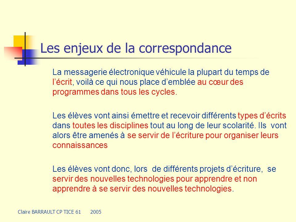 Les programmes Claire BARRAULT CP TICE 61 2005 … de correspondance interscolaire, en particulier par le moyen du courrier électronique, l'enseignant est dans ce cas le lecteur des messages reçus.