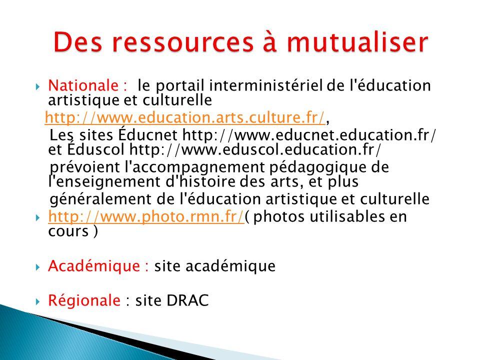  Nationale : le portail interministériel de l éducation artistique et culturelle http://www.education.arts.culture.fr/,http://www.education.arts.culture.fr/ Les sites Éducnet http://www.educnet.education.fr/ et Éduscol http://www.eduscol.education.fr/ prévoient l accompagnement pédagogique de l enseignement d histoire des arts, et plus généralement de l éducation artistique et culturelle  http://www.photo.rmn.fr/( photos utilisables en cours ) http://www.photo.rmn.fr/  Académique : site académique  Régionale : site DRAC