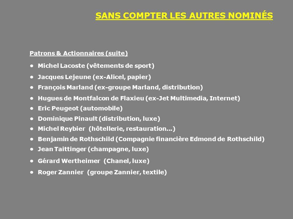 SANS COMPTER LES AUTRES NOMINÉS Patrons & Actionnaires (suite) • Michel Lacoste (vêtements de sport) • Jacques Lejeune (ex-Alicel, papier) • François